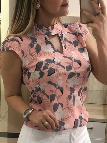 Pink Floral Leaves Cut Out Bodycon Chiffon Comfy Short Sleeve Going out T-Shirt