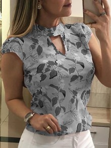 Grey Floral Leaves Cut Out Bodycon Chiffon Comfy Short Sleeve Going out T-Shirt