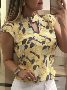 Yellow Floral Leaves Cut Out Bodycon Chiffon Comfy Short Sleeve Going out T-Shirt