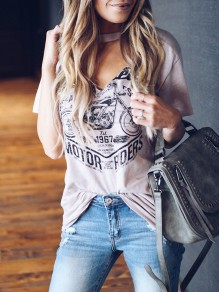 Apricot Floral Pattern Bodycon V-neck Short Sleeve Going out T-Shirt