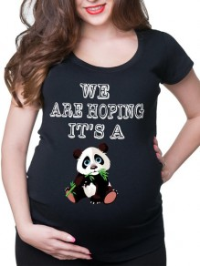 Black Panda Monogram Print Round Neck Short Sleeve Maternity T-Shirt