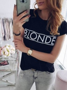 Black Monogram Print Round Neck Short Sleeve Fashion T-Shirt