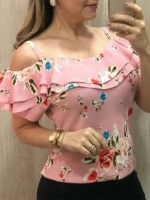 Pink-White Floral Print Fashion Sweet Comfy Going out T-Shirt