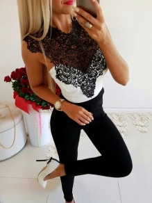 White Patchwork Lace Cut Out Bodycon Comfy Going out T-Shirt