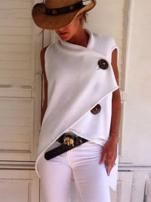 White Buttons Fashion Sweet Comfy Going out V-neck T-Shirt