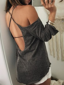 Dark Grey Cross Back Backless Round Neck 3/4 Sleeve Fashion T-Shirt