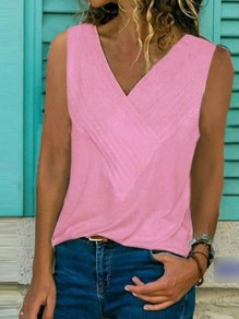 Pink Plus Size Comfy Casual Going out V-neck Vest