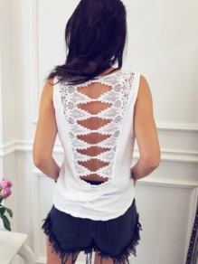White Cut Out Backless Summer Lace Casual Women Daily Fashion Vest