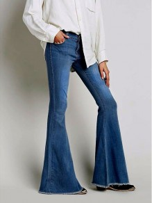 Dark Blue Pockets Zipper Buttons Denim High Waisted Bell Bottomed Flares Jean