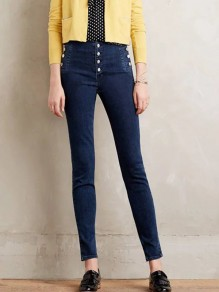 Dark Blue Single Breasted Pockets High Waisted Fashion Long Jeans