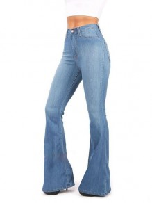 Light Blue Pockets Buttons High Waisted Flare Bell Bottom Slim Big Booty Vintage Long Jeans Pants
