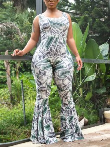White Dollar Print Spaghetti Strap Bodycon High Waisted Bell Bottomed Flares Long Jumpsuit Pant