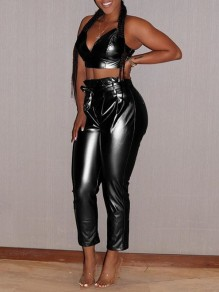 Black Spaghetti Strap Belt Two Piece PU Leather Latex Party Long Jumpsuit Pant