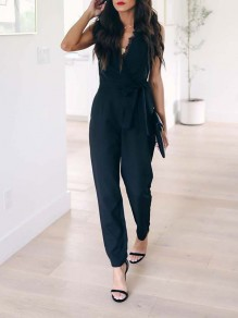 Black Patchwork Lace Pockets Bodycon Deep V-neck Going out Long Jumpsuit