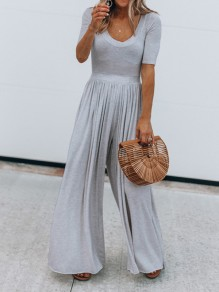 Light Grey Draped High Waisted Going out Wide Leg Long Jumpsuit