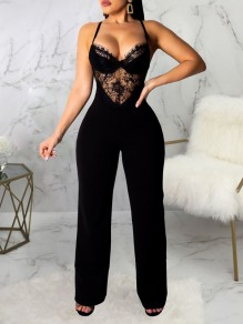 Black Patchwork Lace Spaghetti Strap Backless Elegant Party High Waisted Wide Leg Palazzo Long Jumpsuit