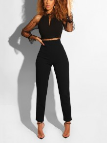 Black Patchwork Grenadine Pearl Bodycon Elegant Party Long Jumpsuit