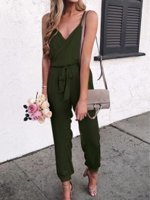 Army Green Irregular Sashes Spaghetti Strap V-neck Going out Long Jumpsuit