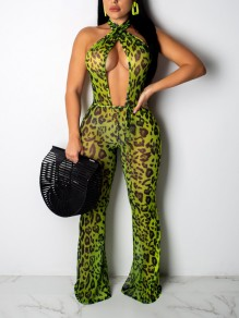 Green Leopard Print Halter Neck Cut Out Backless Party Wide Leg Palazzo Long Jumpsuit