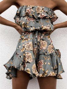 Green Floral Sashes Off Shoulder Ruffle Drawstring Waist Going out Boho Short Jumpsuit