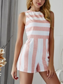 Red Striped Cut Out High Waisted Fashion Short Jumpsuit