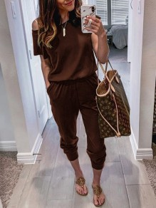 Coffee Pockets One-shoulder High Waisted Fashion Casual Long Jumpsuit