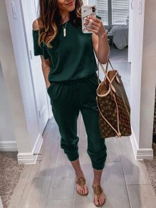 Dark Green Pockets One-shoulder High Waisted Fashion Casual Long Jumpsuit