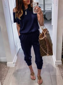 Navy Blue Pockets One-shoulder High Waisted Fashion Casual Long Jumpsuit