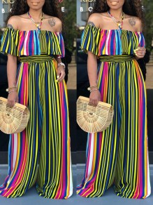 Green Rainbow Striped Ruffle Off Shoulder Backless Bohemian Beachwear Wide Leg Palazzo Long Jumpsuit