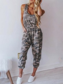 Grey-White Pockets Going out Comfy Fashion High Waisted Long Jumpsuit