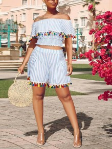 Blue-White Striped Tassel Ruffle Off Shoulder Backless Two Piece Bohemian Short Jumpsuit