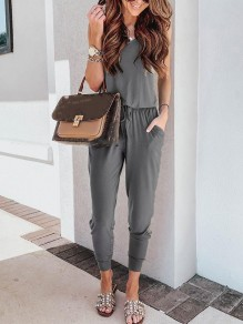 Grey Drawstring High Waisted Fashion Long Jumpsuit