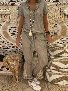 Grey Buttons Pockets Drawstring High Waisted Long Jumpsuit
