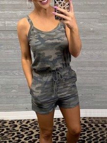 Army Green Camouflage Print Pockets Drawstring High Waisted Short Jumpsuit