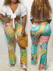 Green Tribal Print High Waisted Bell Bottomed Flares Long Pant
