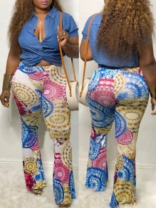 Blue Tribal Print High Waisted Bell Bottomed Flares Long Pant