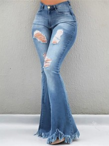 Light Blue Patchwork Cut Out Tassel High Waisted Fashion Flare Jeans Pant
