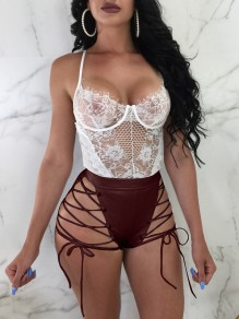 Burgundy Patchwork Zipper PU Leather Vinyl Drawstring High Waisted Bodycon Clubwear Short Pants