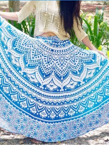 Light Blue Tribal Print Pleated High Waisted Bohemian Beachwear Long Skirt
