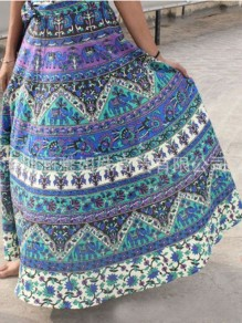 Blue Tribal Print Pleated High Waisted Bohemian Beachwear Long Skirt