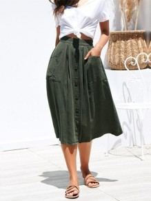 Army Green Patchwork Pockets Buttons Fashion Skirt