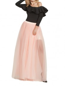 Light Pink Grenadine Elastic Waist Mid-rise Side Slits Fluffy Puffy Tulle Long Bridesmaid Skirt