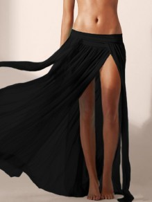 Black Grenadine Elastic Waist Mid-rise Side Slits Beach Cover Up Long Skirt