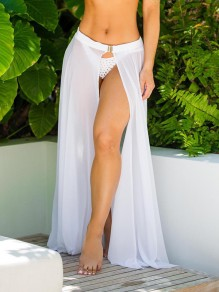White Buckles Grenadine Elastic Waist Mid-rise Side Slits Beach Cover Up Long Skirt