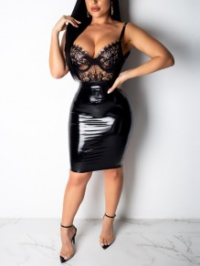 Black PU Leather Latex Vinly Patchwork Lace Cut Out Shoulder-Strap V-neck 2-in-1 Hip Bodycon Clubwear High Waisted Party Mini dress