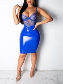 Blue Bodycon PU Leather Latex Vinly Patent High Waisted Party Long Skirt