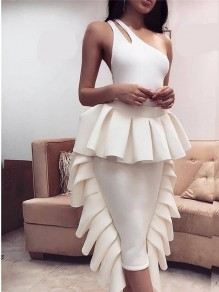 White Cascading Ruffle Bodycon Elegant Party Skirt
