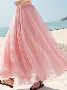 Pink Draped Chiffon Flowy High Waisted Elegant Going out Skirt