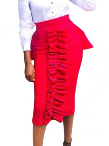 Red Cascading Ruffle Bodycon High Waisted Party Skirt