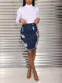 Blue Cut Out Distressed Ripped Buttons High Waisted Party Skirt